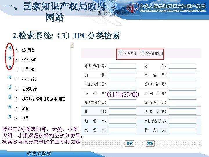 一、国家知识产权局政府 网站 2. 检索系统/(3)IPC分类检索 G 11 B 23/00 按照IPC分类表的部、大类、小类、 大组、小组逐级选择相应的分类号, 检索含有该分类号的中国专利文献部