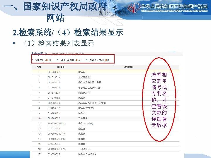 一、国家知识产权局政府 网站 2. 检索系统/(4)检索结果显示 • (1)检索结果列表显示 选择相 应的申 请号或 专利名 称,可 查看该 文献的 详细著