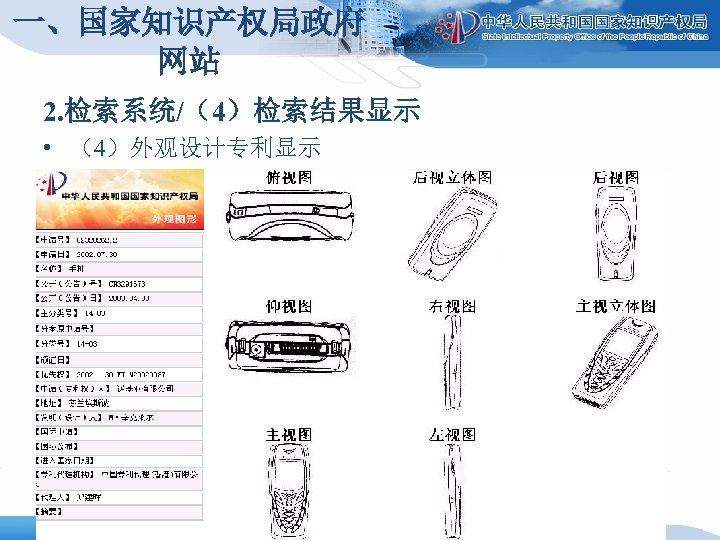 一、国家知识产权局政府 网站 2. 检索系统/(4)检索结果显示 • (4)外观设计专利显示