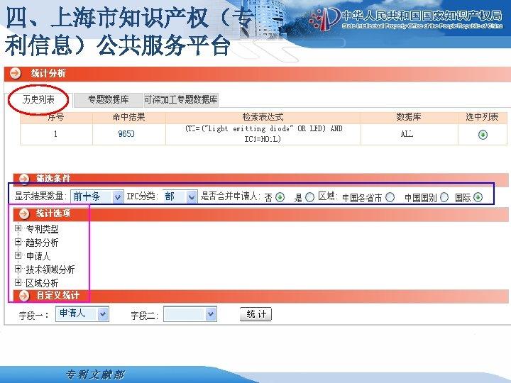 四、上海市知识产权(专 利信息)公共服务平台 专利文献部