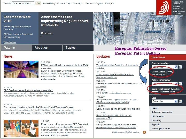 European Publication Server European Patent Bulletin