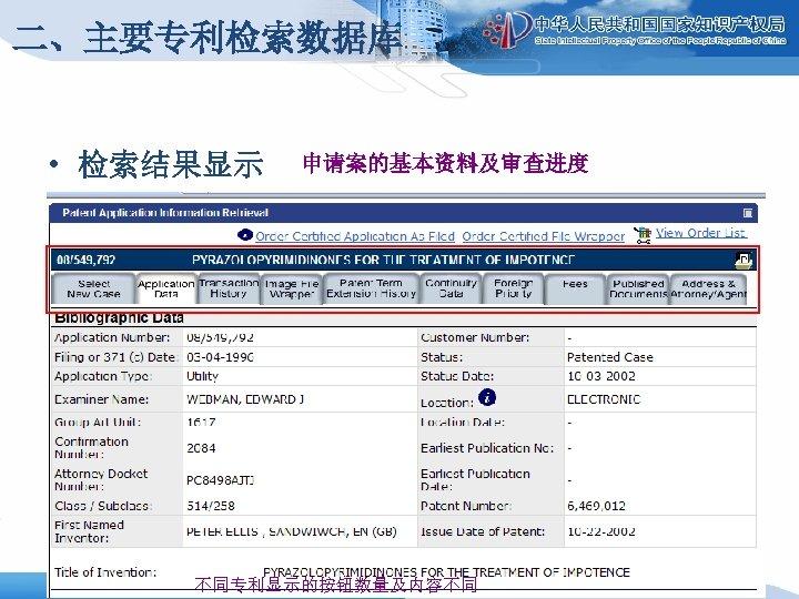 二、主要专利检索数据库 • 检索结果显示 申请案的基本资料及审查进度 不同专利显示的按钮数量及内容不同