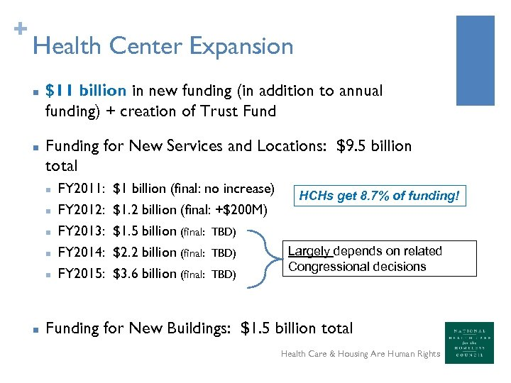 + Health Center Expansion n n $11 billion in new funding (in addition to