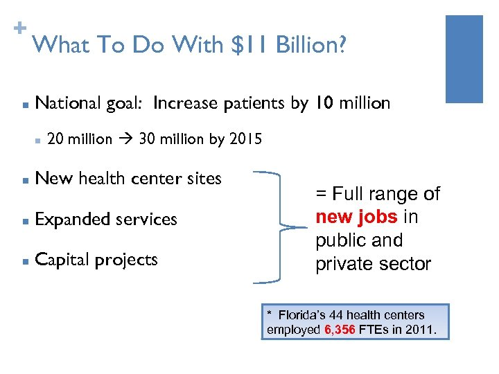 + n What To Do With $11 Billion? National goal: Increase patients by 10