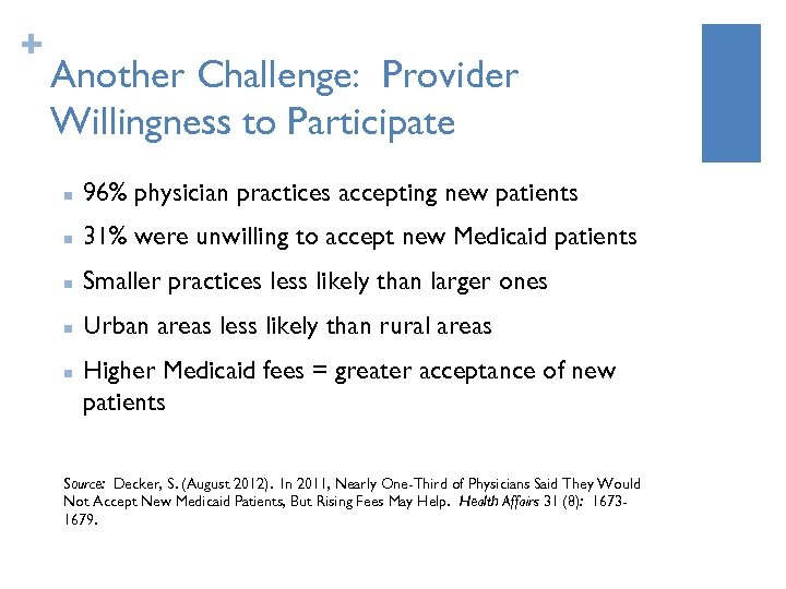 + Another Challenge: Provider Willingness to Participate n 96% physician practices accepting new patients