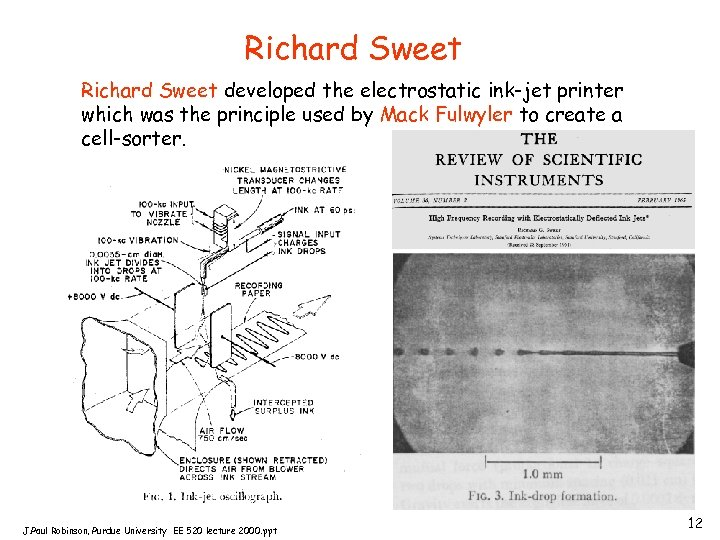 Richard Sweet developed the electrostatic ink-jet printer which was the principle used by Mack