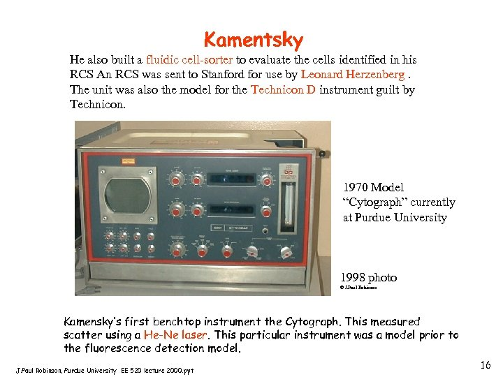 Kamentsky He also built a fluidic cell-sorter to evaluate the cells identified in his