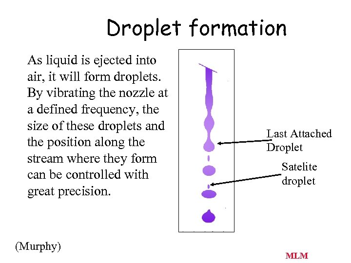 Droplet formation As liquid is ejected into air, it will form droplets. By vibrating