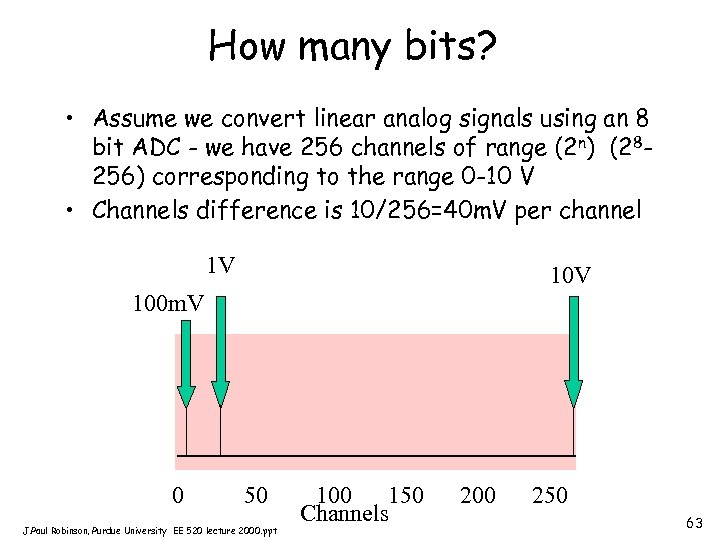 How many bits? • Assume we convert linear analog signals using an 8 bit