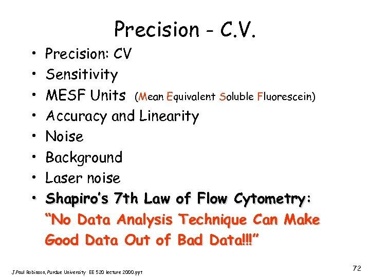 Precision - C. V. • • Precision: CV Sensitivity MESF Units (Mean Equivalent Soluble