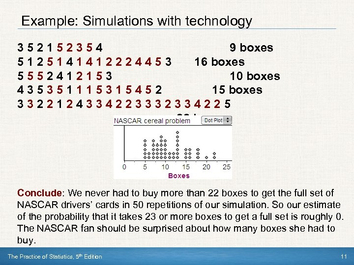Example: Simulations with technology 352152354 9 boxes 5125141412224453 16 boxes 5552412153 10 boxes 435351115315452