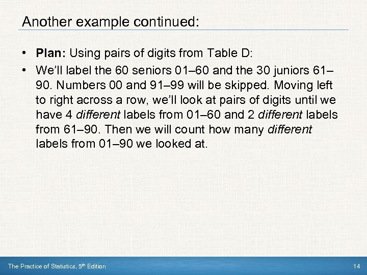 Another example continued: • Plan: Using pairs of digits from Table D: • We'll