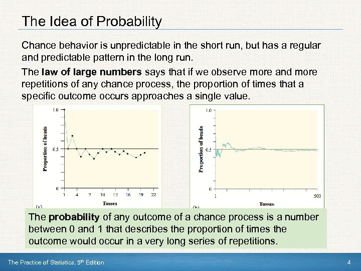 The Idea of Probability Chance behavior is unpredictable in the short run, but has