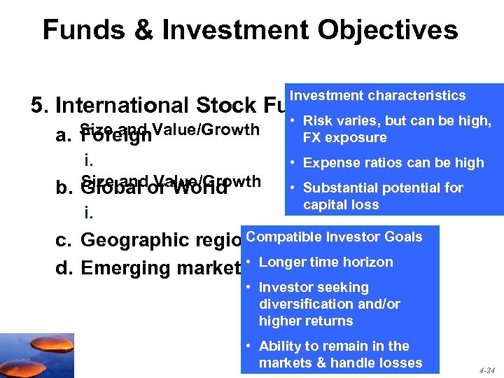 Funds & Investment Objectives Investment characteristics 5. International Stock Funds a. Size and Value/Growth