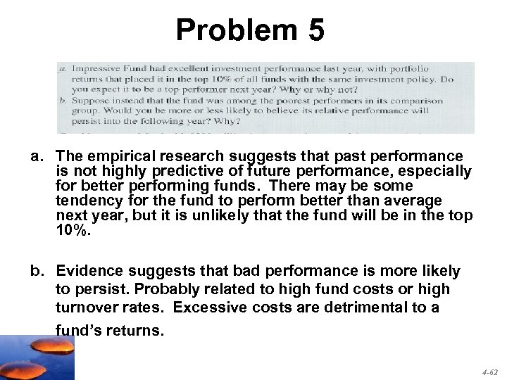 Problem 5 a. The empirical research suggests that past performance is not highly predictive