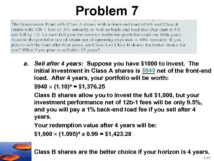 Problem 7 a. Sell after 4 years: Suppose you have $1000 to invest. The