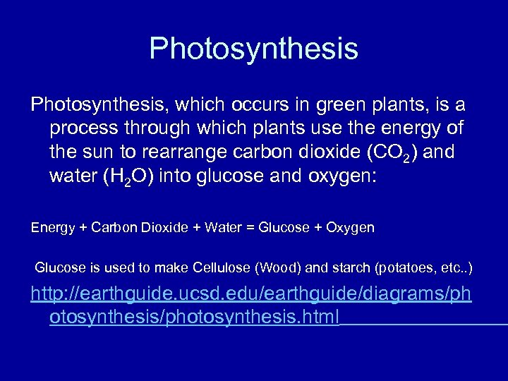 Photosynthesis, which occurs in green plants, is a process through which plants use the