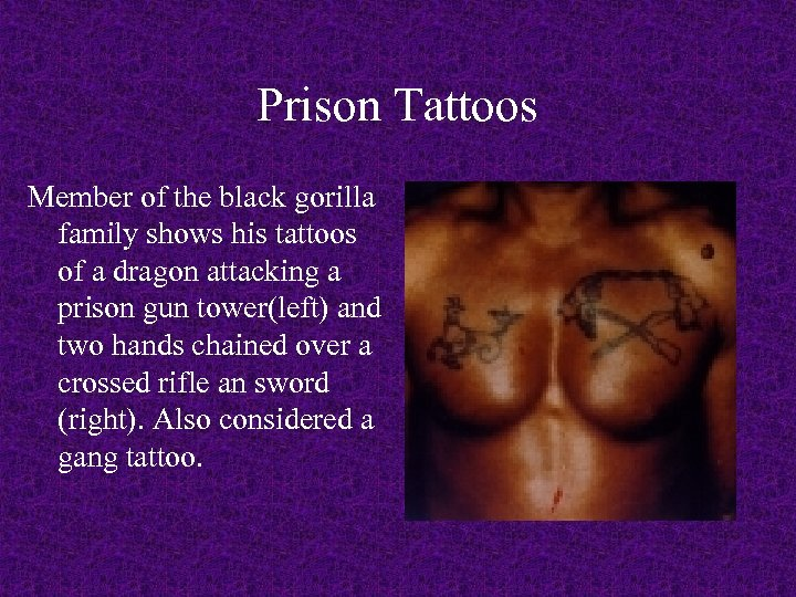 Prison Tattoos Member of the black gorilla family shows his tattoos of a dragon