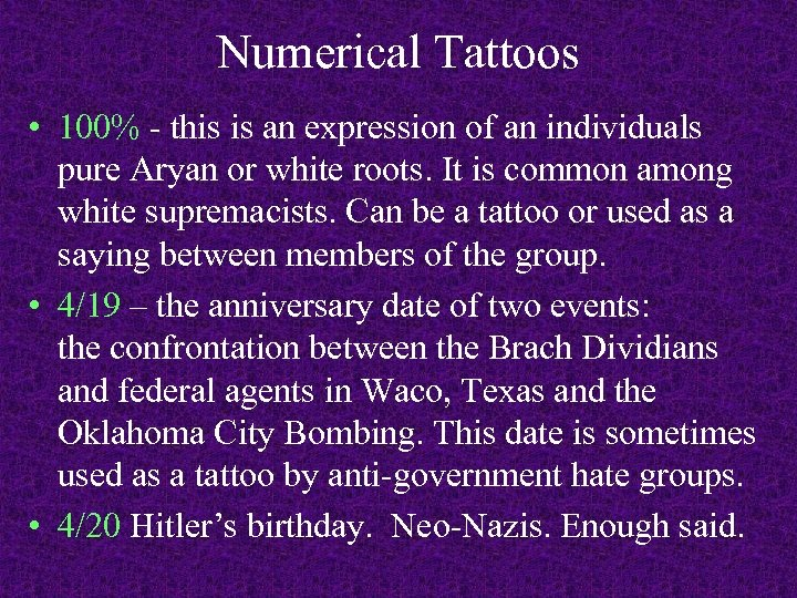 Numerical Tattoos • 100% - this is an expression of an individuals pure Aryan