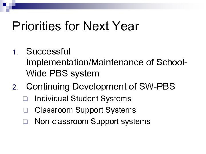 Priorities for Next Year 1. 2. Successful Implementation/Maintenance of School. Wide PBS system Continuing