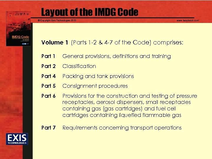 Layout of the IMDG Code © Copyright Exis Technologies 2010 www. hazcheck. com Volume
