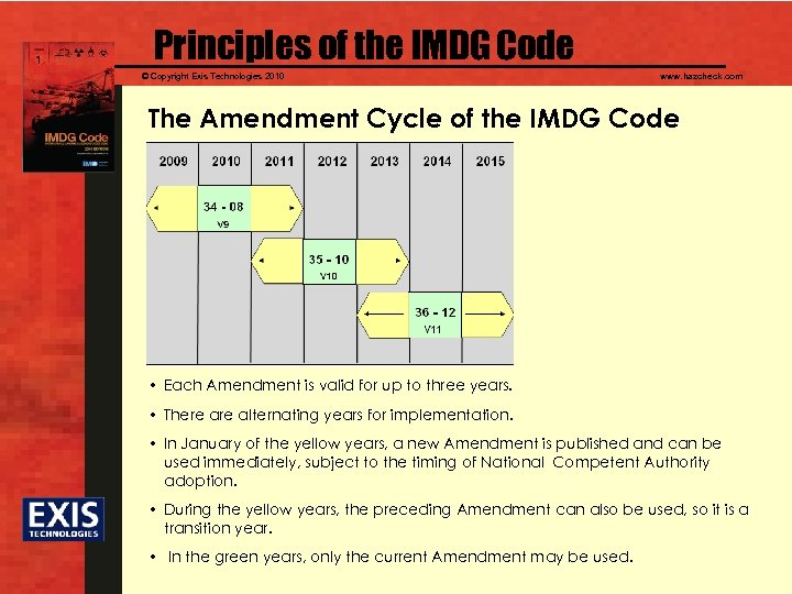 Principles of the IMDG Code © Copyright Exis Technologies 2010 www. hazcheck. com The