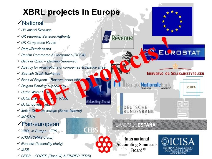 XBRL projects in Europe üNational ü UK Inland Revenue ! ts c je o