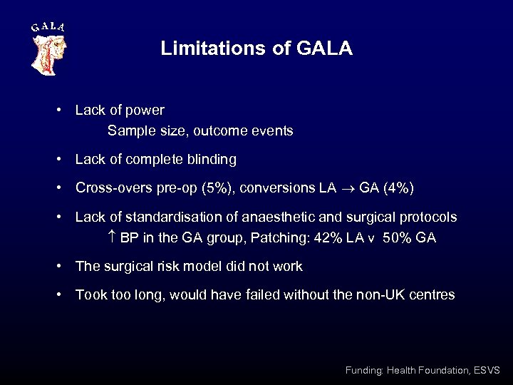 Limitations of GALA • Lack of power Sample size, outcome events • Lack of