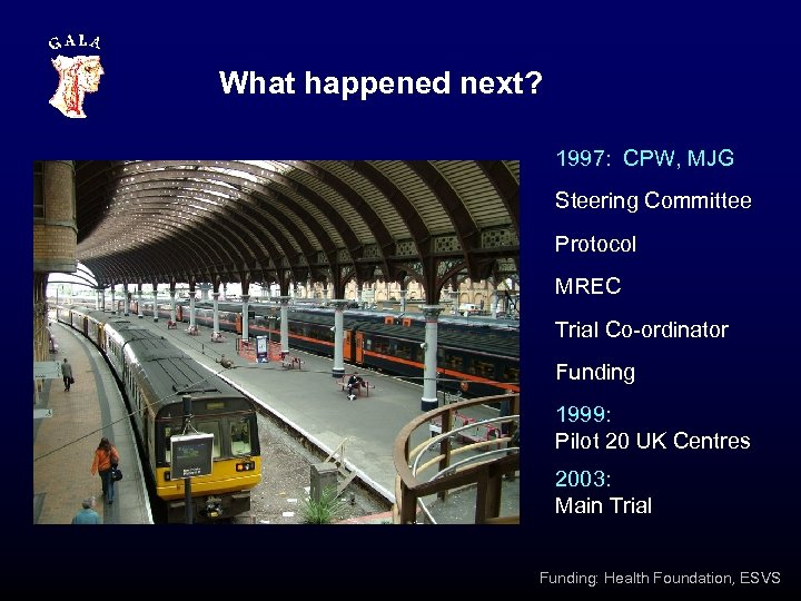 What happened next? 1997: CPW, MJG Steering Committee Protocol MREC Trial Co-ordinator Funding 1999: