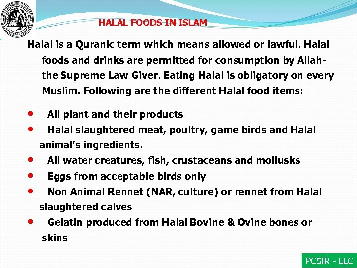 PCSIR — LLC Halal Food and Nonfood