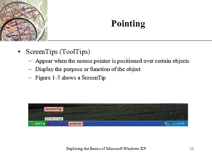 Pointing XP • Screen. Tips (Tool. Tips) – Appear when the mouse pointer is