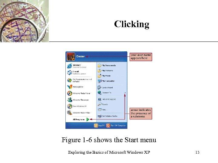 Clicking XP Figure 1 -6 shows the Start menu Exploring the Basics of Microsoft