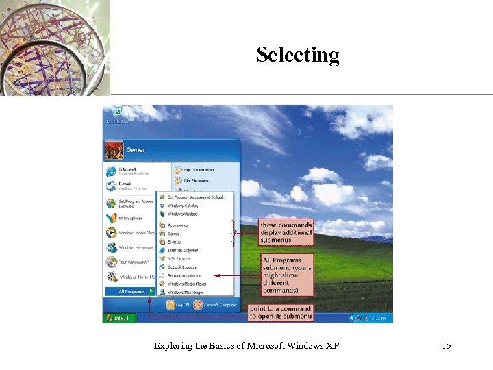 Selecting Exploring the Basics of Microsoft Windows XP XP 15