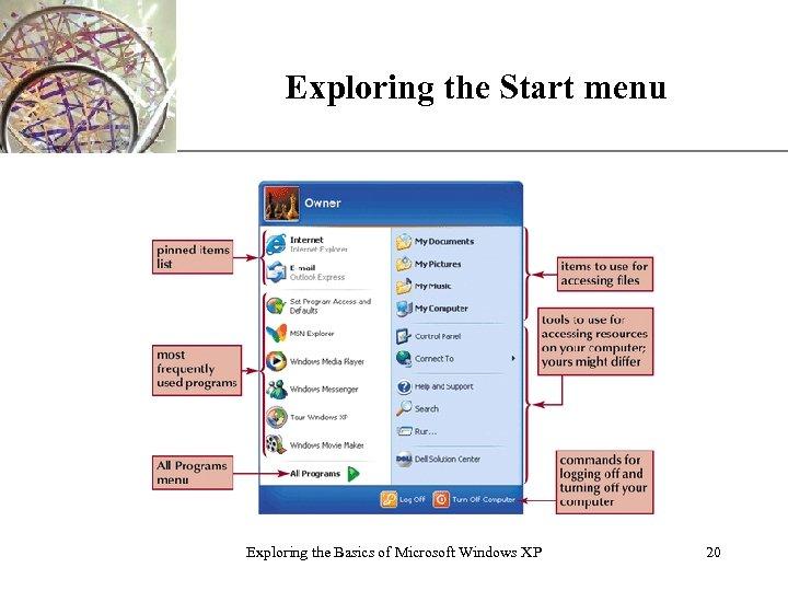 Exploring the Start menu Exploring the Basics of Microsoft Windows XP XP 20