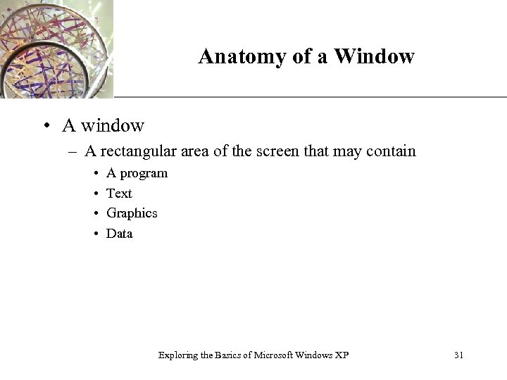 Anatomy of a Window XP • A window – A rectangular area of the