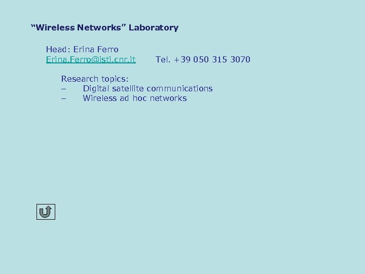 """Wireless Networks"" Laboratory Head: Erina Ferro Erina. Ferro@isti. cnr. it Tel. +39 050 315"
