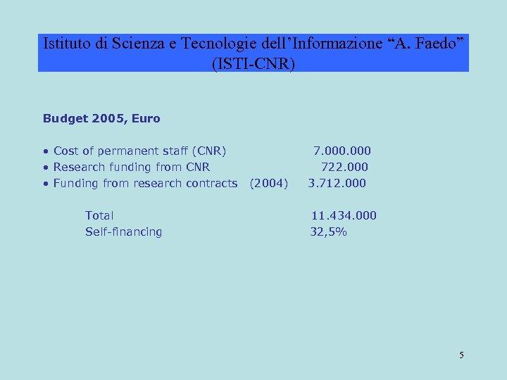 """Istituto di Scienza e Tecnologie dell'Informazione """"A. Faedo"""" (ISTI-CNR) Budget 2005, Euro • Cost"""