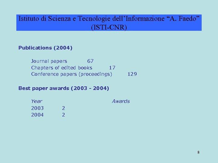 """Istituto di Scienza e Tecnologie dell'Informazione """"A. Faedo"""" (ISTI-CNR) Publications (2004) Journal papers 67"""