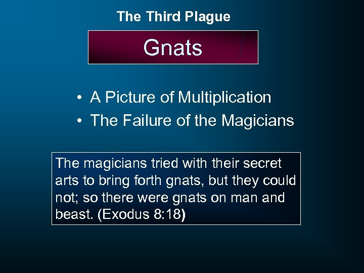 The Third Plague Gnats • A Picture of Multiplication • The Failure of the