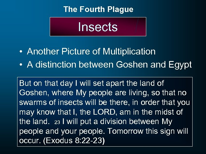 The Fourth Plague Insects • Another Picture of Multiplication • A distinction between Goshen
