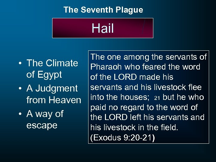 The Seventh Plague Hail • The Climate of Egypt • A Judgment from Heaven