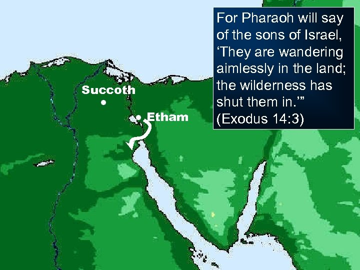 Succoth ● ● Etham For Pharaoh will say of the sons of Israel, 'They