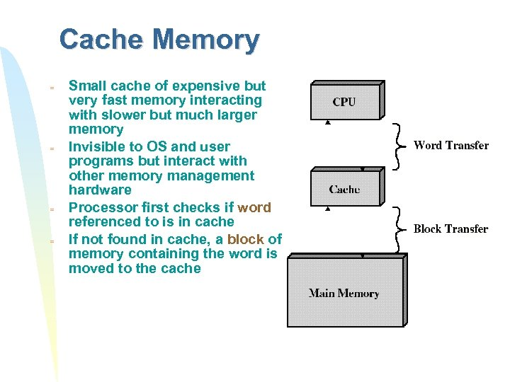 Cache Memory = = Small cache of expensive but very fast memory interacting with