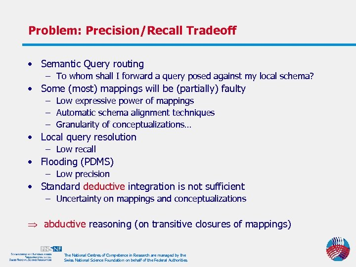 Problem: Precision/Recall Tradeoff • Semantic Query routing – To whom shall I forward a