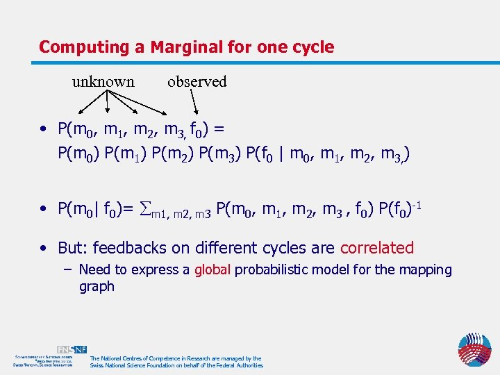 Computing a Marginal for one cycle unknown observed • P(m 0, m 1, m
