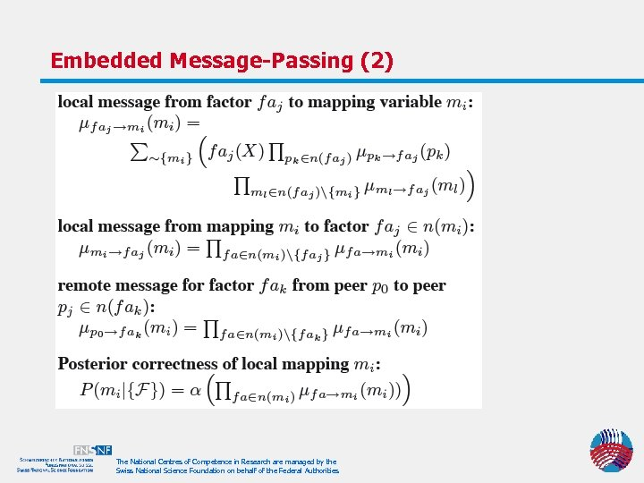 Embedded Message-Passing (2) The National Centres of Competence in Research are managed by the
