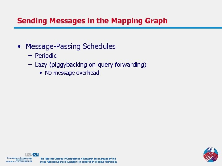 Sending Messages in the Mapping Graph • Message-Passing Schedules – Periodic – Lazy (piggybacking