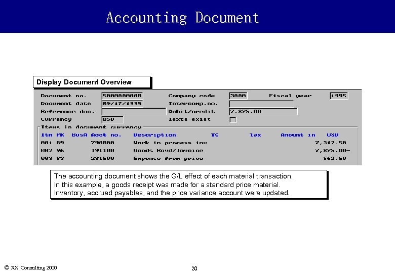 Accounting Document Display Document Overview The accounting document shows the G/L effect of each
