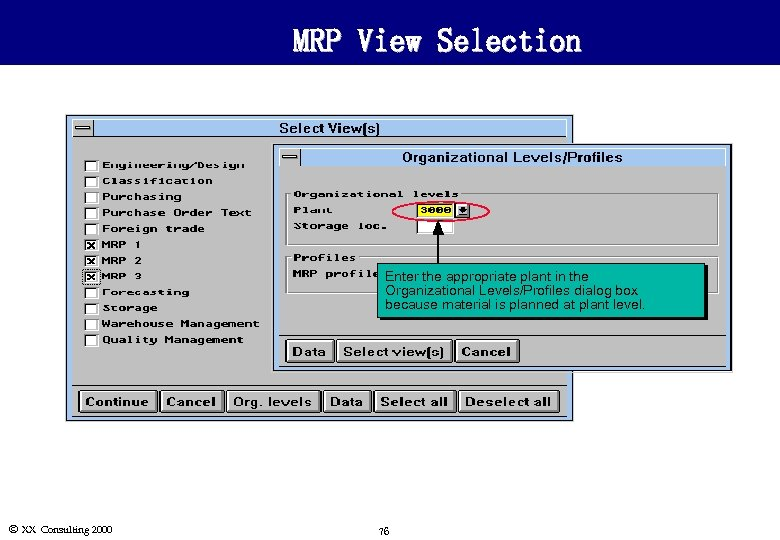 MRP View Selection Enter the appropriate plant in the Organizational Levels/Profiles dialog box because