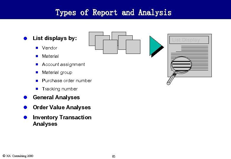 Types of Report and Analysis l List displays by: n Vendor n Material n